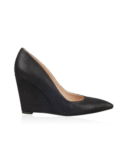 Pantofi Piele Intoarsa cu Platforma Negru N20 - orice culoare