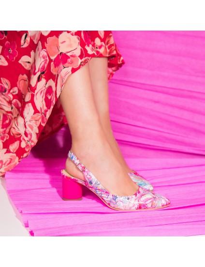 Pantofi Decupati Piele Color Toc Rotund C55  - orice culoare