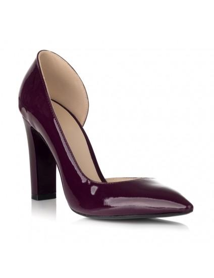Pantofi Piele Lacuita Marsala Decupat S20 - pe stoc
