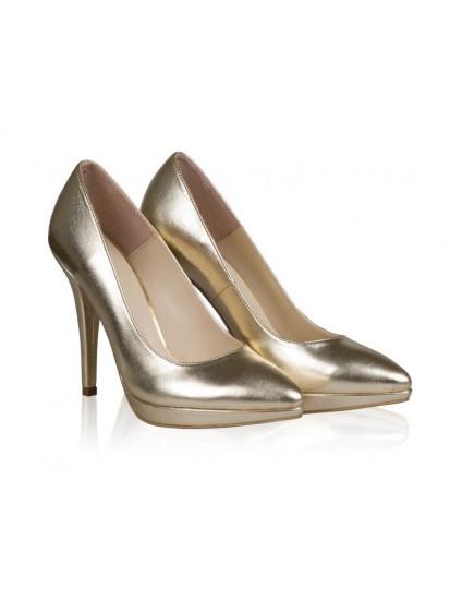 Pantofi Piele Stiletto Platforma PIELE LACUITA NUDE N24 - pe stoc