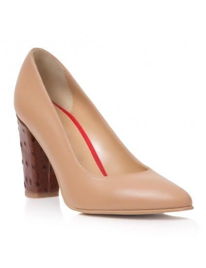 Pantofi Dama Piele Camel Inchis April T30 - Orice Culoare
