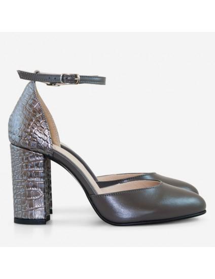 Pantofi Piele Gri Scarlet D63  - orice culoare
