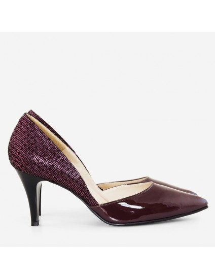 Pantofi Stiletto Piele Lacuita Bordo D60  - pe stoc
