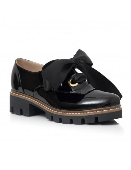 Pantofi Piele Lacuita Negru Funda Alma C60  - pe stoc
