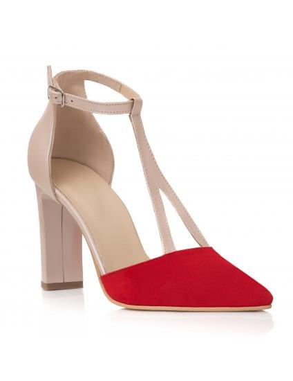 Pantofi Dama Piele Nude Varf Rosu C63- orice culoare