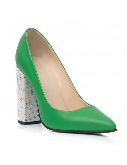 Pantofi Stiletto Toc Gros Verde  C10 - Orice Culoare