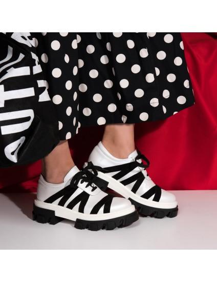 Pantofi Dama Talpa Bocanc Alb/Negru V14  - orice culoare