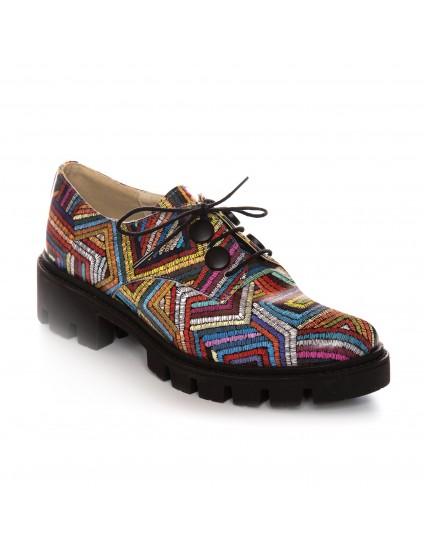 Pantofi Piele Color Tala Joasa Renya V49  - orice culoare