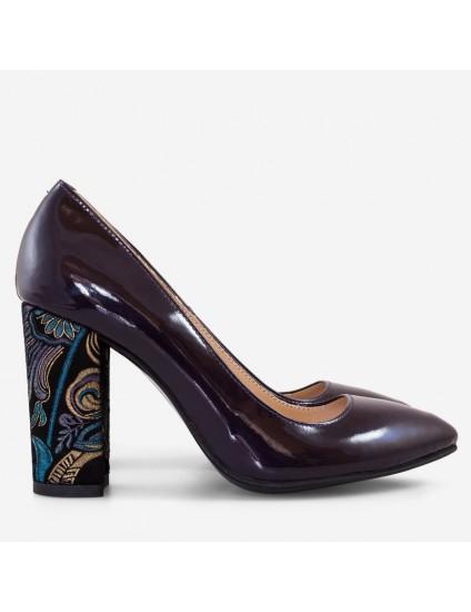Pantofi Piele Mov varf ascutit cu toc gros D17 - orice culoare