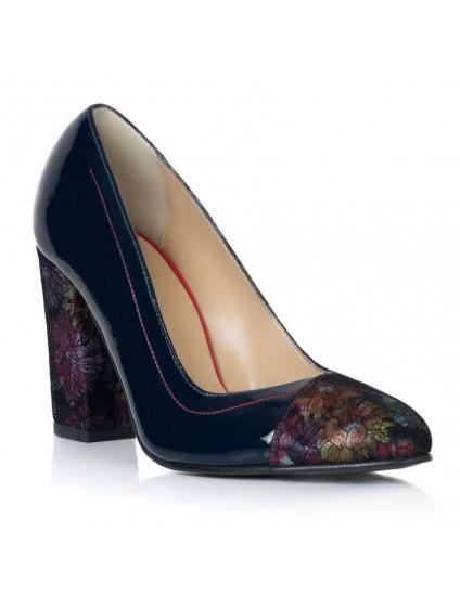 Pantofi Lac Bleumarin Floral Isabel T30- orice culoare