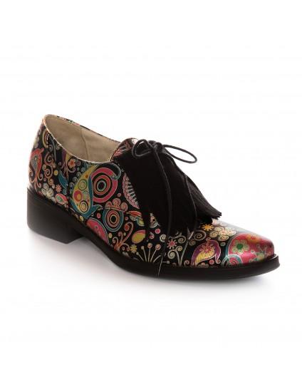 Pantof Oxford Piele Color Franjuri V51  - orice culoare