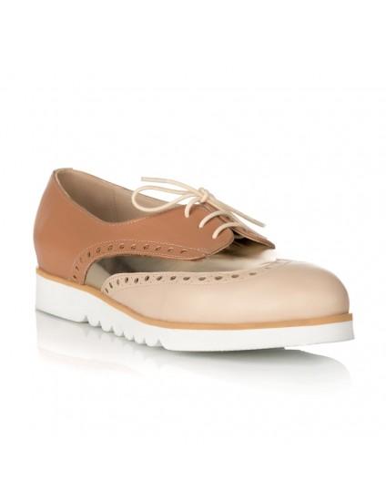 Pantofi Tip Oxford Nude/Bej/Auriu S2 - orice culoare