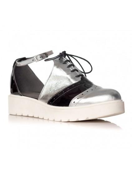 Pantofi piele Argintiu Oxford Decupat V21 - orice culoare
