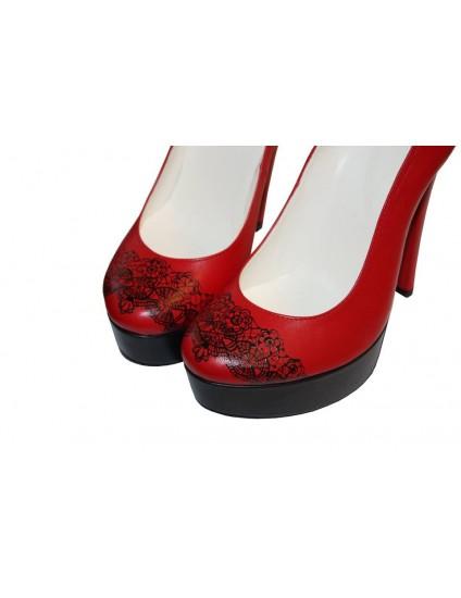 Pantofi pictati manual Black and Red- orice culoare