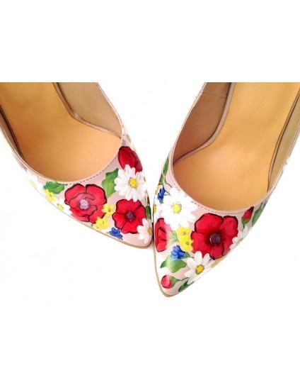 Pantofi Pictati Manuala Red Flower - orice culoare