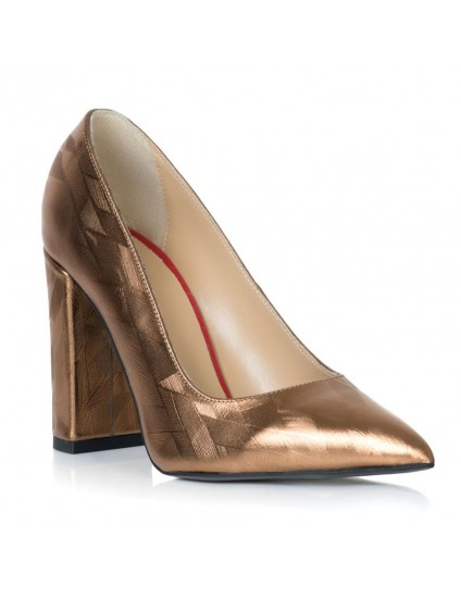 Pantofi Piele Auriu Varf Ascutit Toc Gros T15 - Orice Culoare