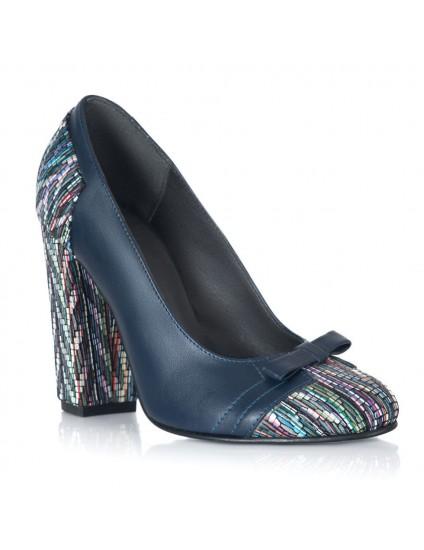 Pantofi Piele Bleumarin Aria Fundita V50 - Orice Culoare