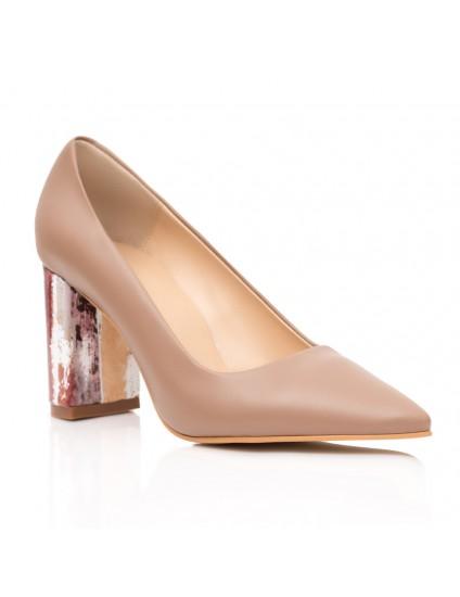 Pantofi Piele Capucino Toc Coler Anne C40 - orice culoare