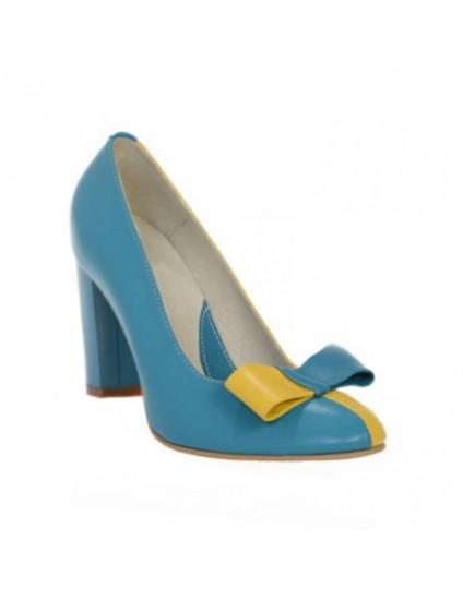 Pantofi dama piele naturala albastru  Funda Duo - orice culoare