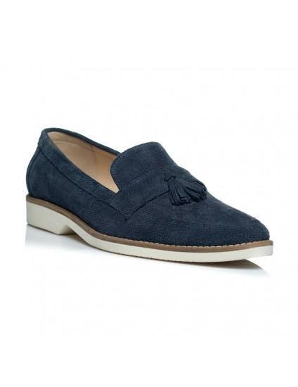 Pantofi piele intoarsa barbati mocasini albastru - pe stoc