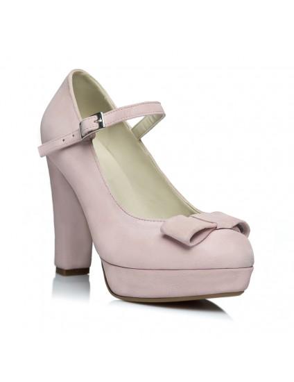Pantofi Decupat Mini Tuxedo Bareta Piele Roz Pal Pe Stoc