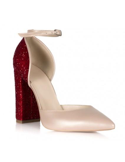 Pantofi Piele Nude Glitter Rosu S12 - pe stoc