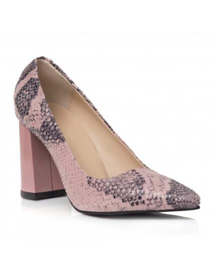 Pantofi Piele Imprimeu Sarpe Roze Irene C46 - orice culoare