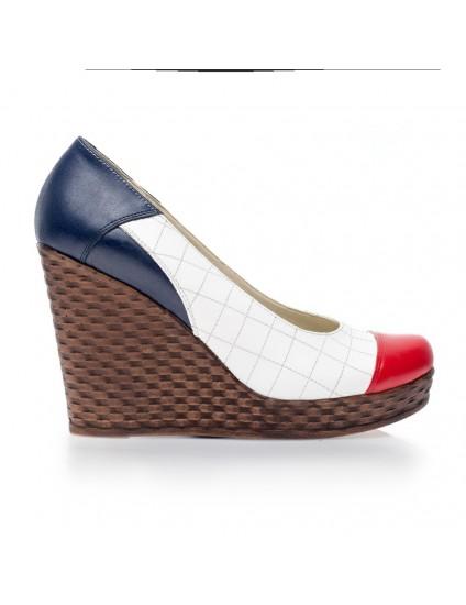 Pantofi piele cu platforma Eva Alb V1 - orice culoare
