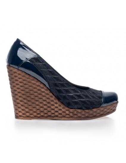 Pantofi piele cu platforma Eva Bleumarin V1 - orice culoare