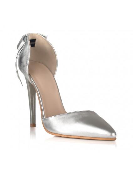 Pantofi Dama Piele Stiletto Luna Argintiu C30 - pe stoc