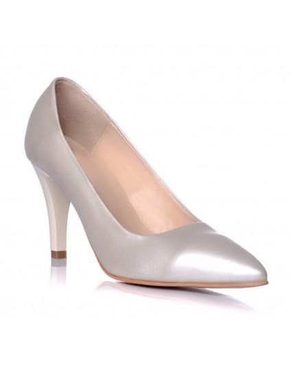 Pantofi piele naturala argintiu Mini Stiletto - disponibili pe orice culoare