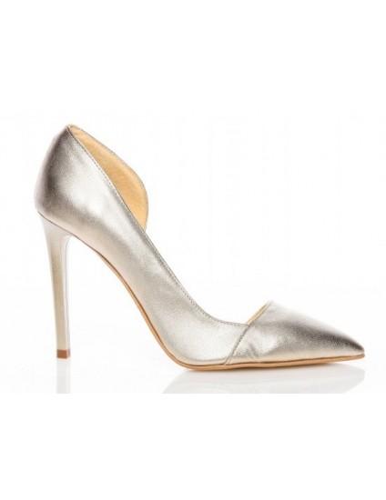Pantofi piele Auriu Stiletto Duo decupat   - orice culoare