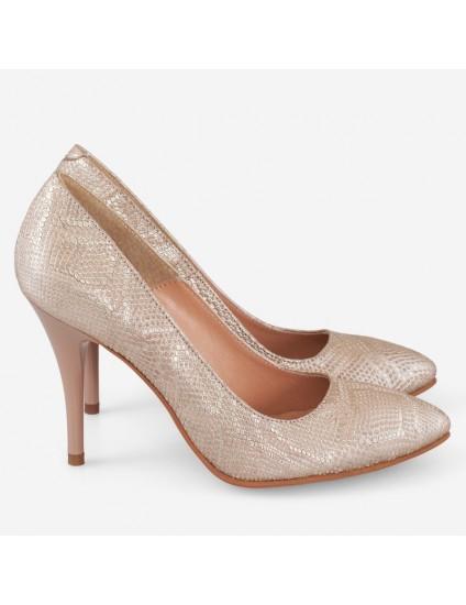 Pantofi Stiltto Piele Auriu Imprimeu Sarpe D51 - orice culoare