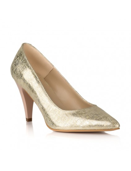 Pantofi Stiletto Piele Auriu Toc Mic V30 - pe stoc