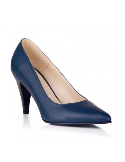 Pantofi Stiletto Piele Bleumarin Toc Mic V30 - pe stoc