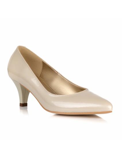 Pantofi Stiletto Piele Crem Toc Mic L21 - orice culoare