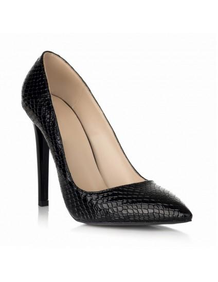 Pantofi Stiletto Piele intoarsa  Negru S10 -  pe stoc