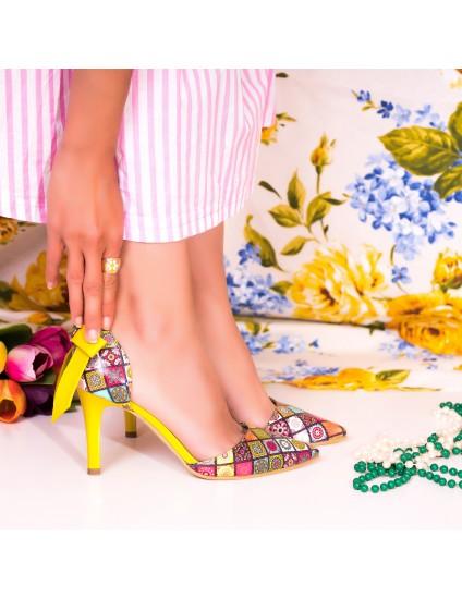 Pantofi Piele Stiletto Mini Luna Multicolor C30 - Orice Culoare