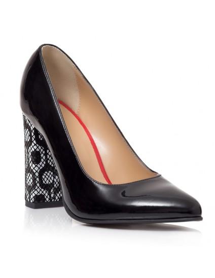 Pantofi Stiletto Toc Gros Lac Negru Melisa T28 - Orice Culoare