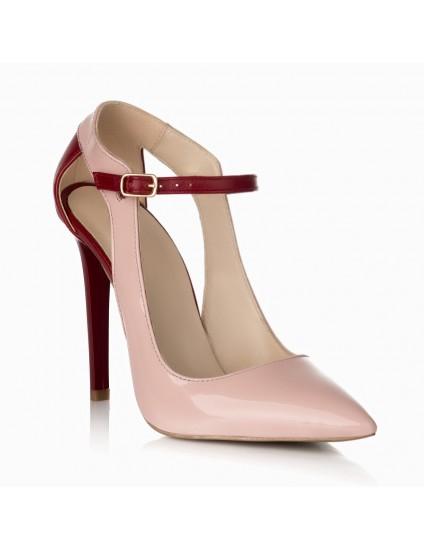 Pantofi Stiletto Lac Nude/Bordo S15 - pe stoc