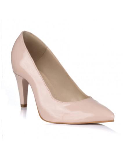 Pantofi Stiletto Lac Nude Toc Mic V30 -pe stoc