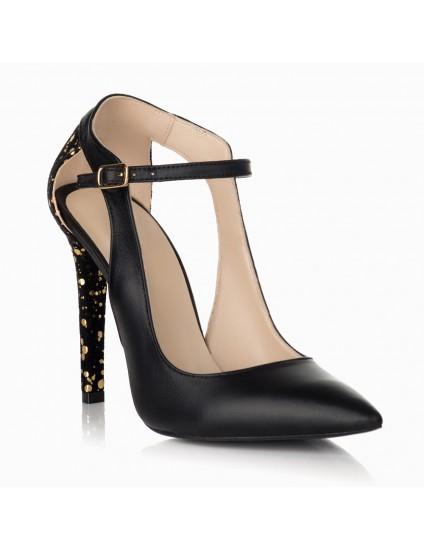 Pantofi Stiletto Piele Negru/Aplicatii Auriu S15 - orice culoare