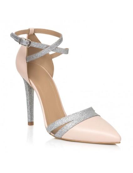 Pantofi Stiletto Nude/Argintiu  Elegance L8- orice culoare