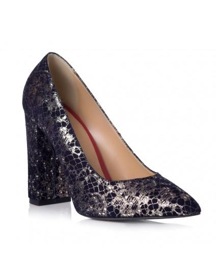 Pantofi Stiletto Toc Gros Piele Imprimeu Argintiu T6 - orice culoare