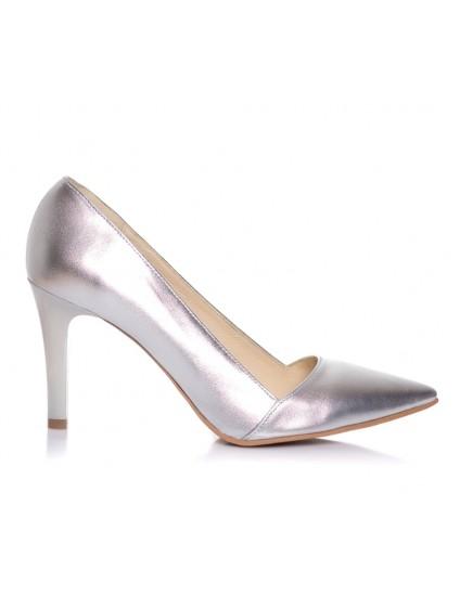 Pantofi Stiletto P14 piele argintiu  - orice culoare
