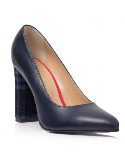 Pantofi Stiletto Toc Gros Bleumarin/Carouri Melisa T28 - Orice Culoare