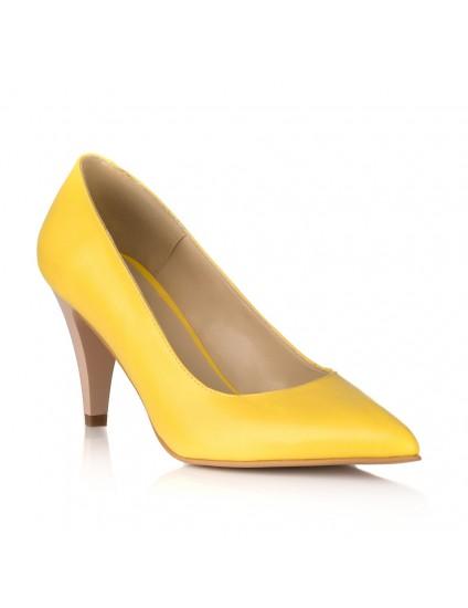 Pantofi Stiletto Piele Galben Toc Mic V30 - orice culoare