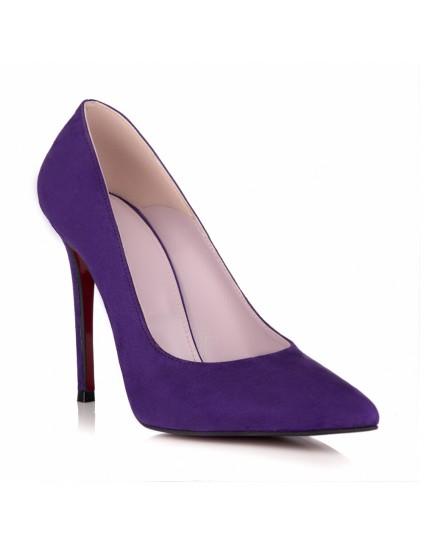 Pantofi Stileto Piele Intoarsa Mov L18 - orice culoare
