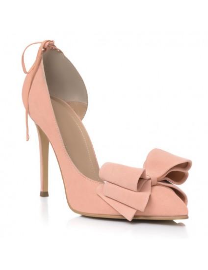 Pantofi Stiletto Piele Intoarsa Nude Funda Mare L36 -pe stoc