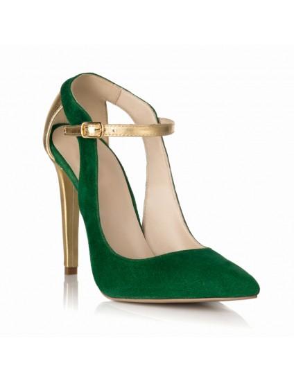 Pantofi Stiletto Piele Verde/Auriu S15 - orice culoare